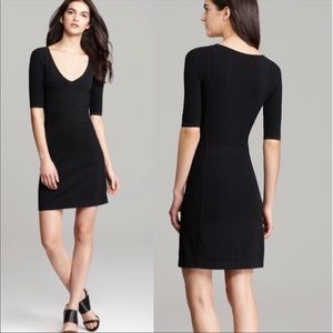 Theory Julialynn Ventura Black V Neck Dress